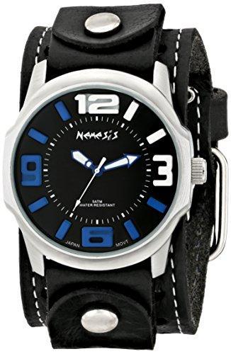 Nemesis STH107KL - Reloj de pulsera hombre, piel, color Negro