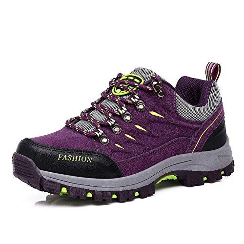 Chaussures Hommes De Randonnée Lacets Plat Confortablee Cross Country Automne Chaussures De Plein Air Violet