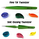 Quill on quilling pinzette – Set di 2 – quilling tools-combo di punta fine pinzette e chiusura automatica tweezer- Essential quilling Tool