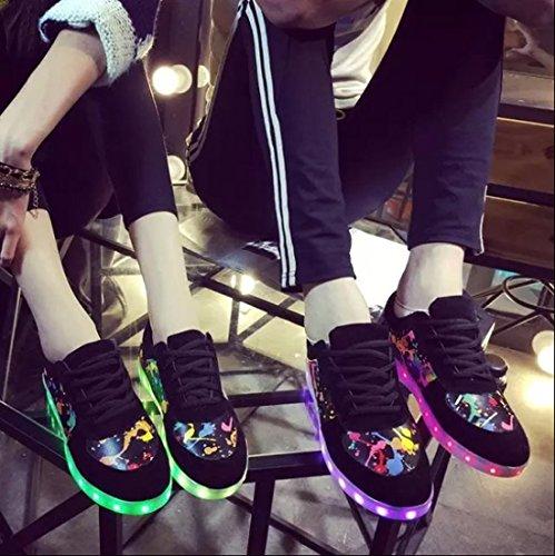 X-MOKE Unisex Adulto Graffiti 7 Colore USB Carica LED Lampeggiante Luminosi Sneakers Scarpe Sportive per esterno Partito Sport Scarpe da Passeggio Bambini Rosso