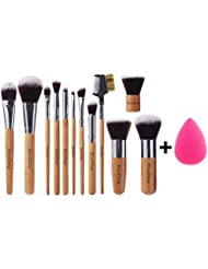 EmaxDesign - Lote de brochas y pinceles de maquillaje (12 unidades) y esponja para maquillar