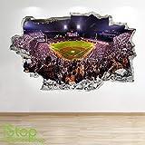 1Stop Graphics Shop Baseball Stadium Wandaufkleber 3D Optik - Jungen Kinder Schlafzimmer Sport Wand Abziehbilder Z528 - Large: 70 cm x 111 cm