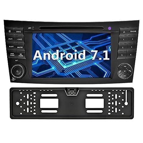 YINUO 7 Zoll 2 Din Android 7.1.1 Nougat 2GB RAM Quad Core Autoradio Moniceiver DVD GPS Navigation 1080P OEM Stecker Canbus Orange Tastenbeleuchtung für Mercedes-Benz E-W211/E200/E220/E240/E270/E280(2002/03-2008),CLS-W219/CLS350/CLS500/CLS55(2005-2006),CLK-W209(2005-2006),G-W463(2001-2008) Unterstützt DAB+ Bluetooth OBD2 Wlan (Autoradio mit Kamera 4)