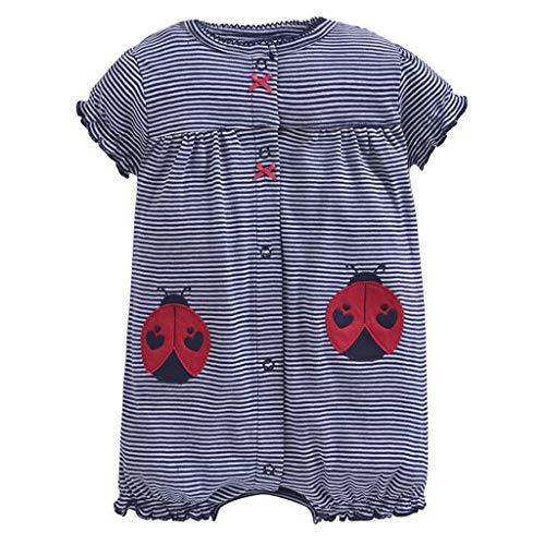 DIASTR Festliche Herbst Kleidungs Sets Babyausstattung Baby-säuglingsmädchen-Jungen-Einteiler-Karikatur-gestreifte Gedruckte Spielanzug-Bodysuit-Kleidung für 0-24 Monate