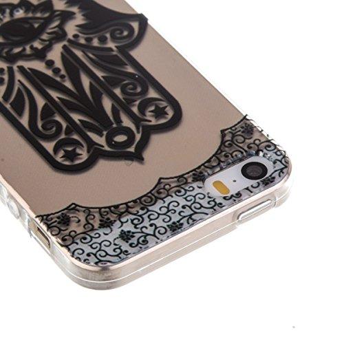 Ekakashop Transparente Flexible TPU Couqe pour Apple iPhone 5, Ultra Mince Doux Soft Silicone Protectrice Couverture Housse pour iPhone 5s, Motifs de Attrape Reve Cas Case Back Cover Defender Bumper É Palm Fleur