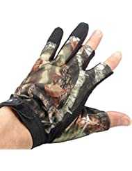 Lelantus 3 corte dedo prueba de los guantes de caza antideslizante camuflaje pesca de agua