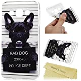 "Mavis's Diary Coque Samsung Galaxy A3 (2015, 5.0"", ne s'adapte à Version 2016) Étui Housse de Protection TPU Phone Case Cover Chien Noir Shell Ultra Mince Léger Souple Flexible+Chiffon"
