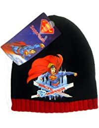 Offiziell lizensiertes ORIGINAL Superman Schwarz Beanie Mütze - lizensierter Superman DC Comics Fanartikel