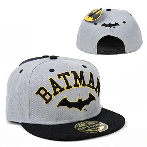 DC Comics Batman Herren Varsity Snapback Cap - Arkham Logo College Baseball Cap Schwarz Grau