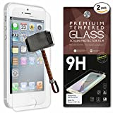 iPhone 5 Screen Protector [Set of 2] - Ballistic Tempered Glass - Maximum Impact Protection - 99.99% Crystal Clear HD Glass - No Bubbles - Cell Phone DIY® Protectors Kit for Apple iPhone 5 5C & 5S