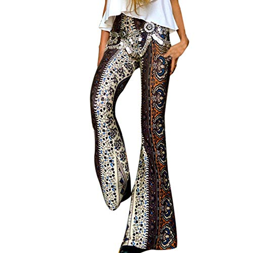 Venmo Damen High-Waist Casual Print Sporthose Pluderhosen Schlaghosen Yogahosen Damen Haremshose mit Gesmoktem Bund Pfauendruck Blumenmuster -