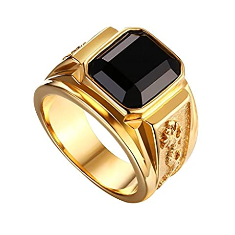 Sharplace Black Shiny Gem Rhinestone Gold High Polished Stainless Steel Carved Flying Dragon Totem Ring Personality Vintage Charm Design -