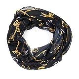 MANUMAR Loop-Schal für Damen | feines Hals-Tuch in schwarz braun mit Schlüssel Motiv als perfektes Herbst Winter Accessoire | Schlauch-Schal | Damen-Schal | Rund-Schal | Das ideale Geschenk für Frauen