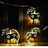 LightsGo® LED Lichterkette Hirsch Weiß Metall 10LEDs 3M warmweiß mit Timer
