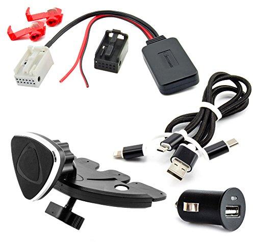 Water Mark Bluetooth Adaptateur auxiliaire Kit pour BMW E81, E82, E87, E88, E90, E91, E92, E93 E60, E61, E63, E64 Musique streaming Câble de charge Support