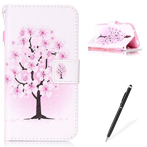 Feeltech Hülle für Huawei Y625 Weich Magnet PU Brieftasche Elegant Kartenfach Extra Dünn Schutzhülle Bunte ReLife MusterKarte Halterung Klapp Ledertasche - Pfirsich Blüten Baum