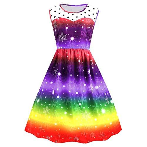 Heiße Mädchen T-shirt (Moonuy Damen Weihnachtsfeier Kleid, Herbst Winter Elegante Heiße Frauen Mädchen Weihnachten Regenbogen Party Kleid Kausalen Vintage Bunte Xmas Swing über Knie Kleid (Lila, L))