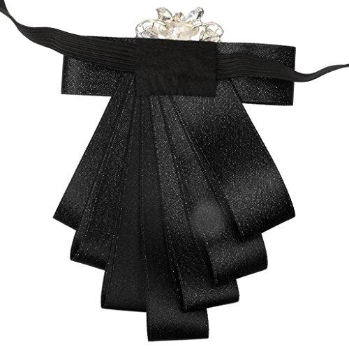 Homme Cravate Noeud Papillon Ruban Diamand Strass Décor Fastueux de Soirée Mariage Danse 9 Couleurs Noir