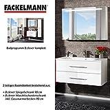 FACKELMANN Badmöbel Set B.Clever 2-tlg. 90 cm weiß mit Waschtisch Unterschrank inkl. Gussmarmorbecken & LED Spiegelschrank