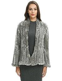 Ferand leichter eleganter Damen Winter Cardigan Jacke mit lange Ärmel aus  gestricktem Kaninchen Pelz 9cfae4416b