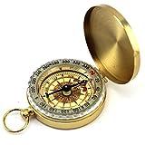 Natuce Outils Portable Montre de poche Flip-open Compass Laiton Métal Randonnée Camping Compass Navigation extérieure - Gold