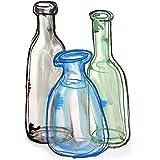 Zeichnung Stillleben von bunten Flaschen 4