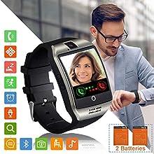 Smartwatch Fitness Armband Uhr mit Schrittzähler Touchscreen Kamera SIM-Karte Slot Fitness Tracker Fitnessuhr Smart Watch für Samsung Huawei Xiaomi LG Android Phones für Damen Herren Kinder (Silber)