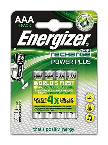 Energizer Rech Power Plus Blister de 4 Piles Rechargeables AAA 700 FSB4 Pré-Chargé