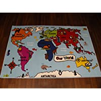 Non Slip Kids Blue World Map Large Play Mat /Rug 100cm x 150cm Hours Of Fun