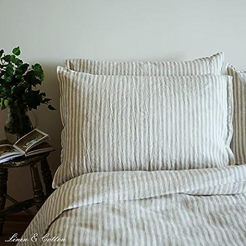 Linen & Cotton Federa per Guanciale in Lino Lavato (Stonewashed), A Righe - 50 x 70cm