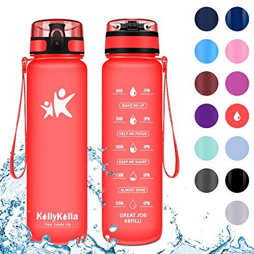 Kollykolla bottiglia d'acqua sportiva 500ml, tritan borraccia sportiva plastica a prova di perdite con filtro, senza bpa detox, borracce per sport, bambini, scuola, ciclismo, palestra, matte rosso