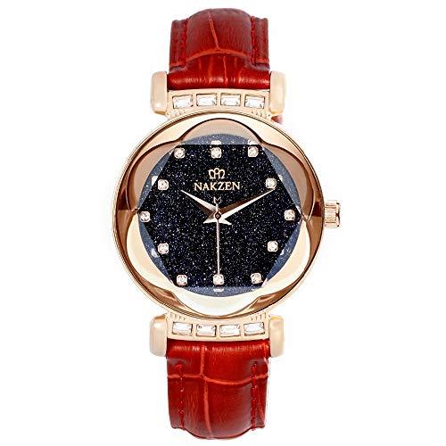 853a0cb73de4 (Rojo   Dorado) Reloj para mujer NAKZEN Reloj de cuarzo a prueba de agua