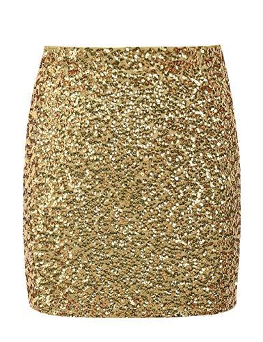 PrettyGuide Damen Pailletten Rock Stretchy Bodycon Glänzend Mini Club Rock XL Gold (London Nights Halloween Club)