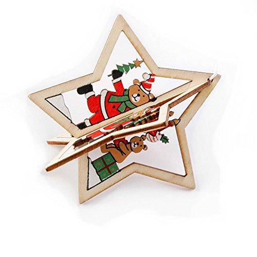 MAXGOODS 2 Stk 3D Weihnachtsbaum Anhänger Hängen Holz Weihnachtsdekoration Home Party Dekor