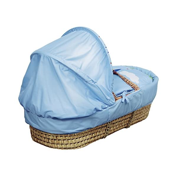 Kinder Valley Kite Blue Moses Basket  Suitable from newborn to 6 months, this Moses Basket uses Easy-care Poly Cotton with a soft padding surround A good balance between comfort and style, moses Basket will ensure safe and sound sleeping for you and your baby The Moses Basket is a perfect starter bed for your baby. The mattress is also washable, just in case of any spillages 2
