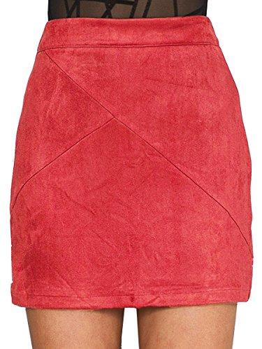 Simplee Apparel Taille haute Lace Up Slit Pencil Bodycon Suede Short Mini jupe noire des femmes