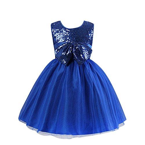 LSERVER Mädchen 'Pailletten'-Kleid mit Schleife-Deco, Dunkelblau, Gr. 104/110( Herstellergröße:...