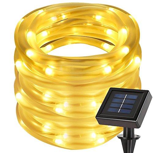 cuzile Manguera LED Solar 7m 50 LED Resistente al agua IP55 Tiras de LED de exterior, Sensor de luz, blanco cálido Decoración para Navidad, Fiestas, Bodas, Patio, Dormitorio, Jardines, Festivales