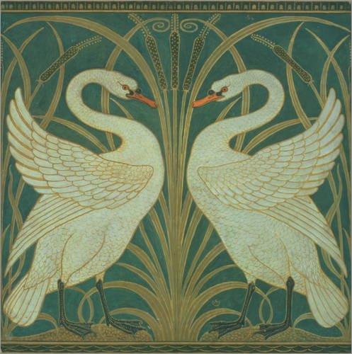 Stampa su legno 90 x 90 cm: Swan, Rush and Iris di Walter Crane / Bridgeman Images
