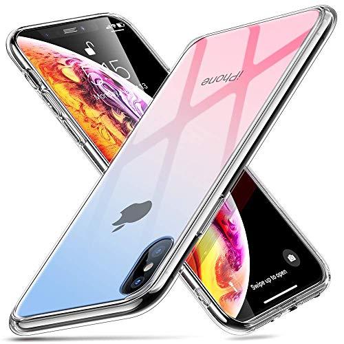 ESR Hülle für iPhone XS/X - Hartglas Handyhülle mit Weichem TPU Rahmen - Handy Schutzhülle für iPhone XS/X (5,8 Zoll) - Blau+Rosa Handy-rahmen