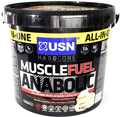 Mass Fuel Whey Protein (USN Muscle-Fuel 4kg   Weight Gainer   Muskelaufbau   All in One (Vanille))