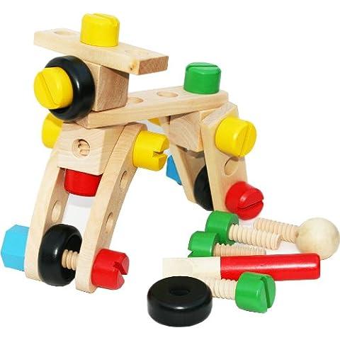Toys of Wood Oxford Dado e bullone di legno Building Blocks Construction Kit 30 Pezzi