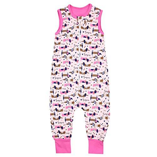 TupTam Unisex Babyschlafsack mit Beinen Unwattiert, Farbe: Hunde/Rosa, Größe: 80-86 (Mädchen Online Kaufen)