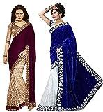 Clickedia Women's Velvet Saree (combo sa...