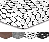 DecoKing Premium 94181 180x200 cm Spannbettlaken Steg 30 cm weiß Schwarz Kariertes Muster Spannbetttuch Microfaser Bettwäschegarnituren Black White Hypnosis Collection Rhombuses 1