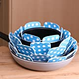 Chefarone Pan and Pot Protectors to Avoid Scratching - Set of 5 - Perfect for Non Stick Pans, Saucepans, Stoneware Skillets - Anti Scratch 38 cm (blue)