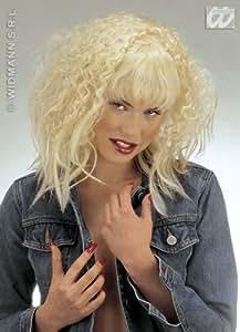 Blonde Crimp Style Wig With Fringe Madonna Sandra D Sandy Fancy Dress