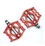 Willyn Ultra light 3 Abgedichtetes Lager Trekking Rennrad Fahrrad Pedale Fahrradpedale Anti-Rutschpedale JT40&52 (Rot mit Grau)