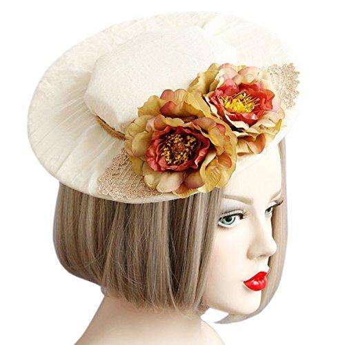 CLOCOLOR Sombrero Tocado fascinator de pelo con flores de moda Accesorios del pelo nupciales fiesta boda (Estilo B)