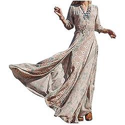 NICE BUY Mujeres Vestidos Bohemia Cuello V Hendidura Estampado Manga Larga y Vestido de la playa y elàstico cintura verano maxi del vestido (XXL, Caqui)
